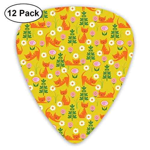 (Woodsy Cats On Gold Small Medium Large 0.46 0.73 0.96mm Mini Flex Assortment Plastic Top Classic Rock Electric Acoustic Guitar Pick Accessories Variety Pack)