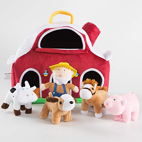 (blue page Farm House with 4 Plush Animals Horse Cow Pig Dog with 1 Farmer, Stuffed Toys Farm Barn Carry Along Case, Great for Kids Boys Girls, Christmas Children's Day Gift )