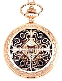 Men's Steampunk Rose Gold Copper Hollow Case Skeleton Mechanical Pendant Pocket Watch With Chain