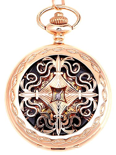 Womens Hand Wind Rose Gold Tone Case and Roman Numberal Pocket Watch,Half Hunter