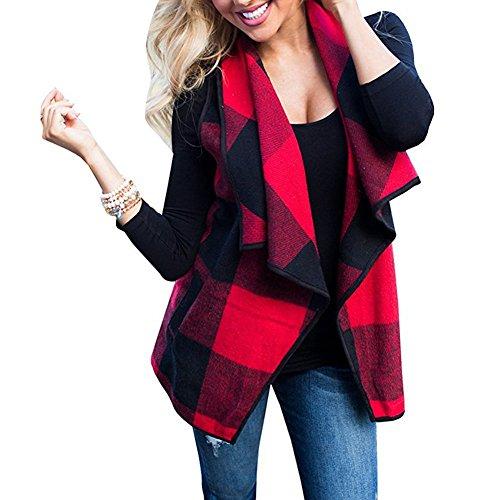 Mujer Chaleco de Cuadros, Primavera y Otoño Sin Cuello Mangas Chaqueta de Pelos Vest Pelo Sintetico Chaleco Ajustado Coat Jacket Outwear Cardigan Ropa de Abrigo Chaquetones Mujer Negro Rojo