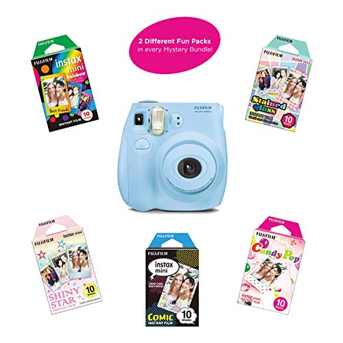 Fujifilm Instax Mini 7S Instant Camera (Certified Refurbished) with Mystery Film Pack Bundle | 2 Mystery Film Fun Packs of 10 Sheets | Rainbow, Shiny Star, Comic, Candy Pop & Stained Glass(Light Blue)