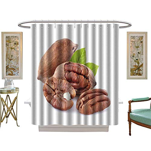 - luvoluxhome Shower Curtain Collection by Pecan with Leaves Custom Made Shower Curtain W69 x L75