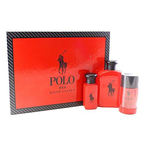 Ralph Lauren Polo Red 3 Piece Gift Set, 4.2 Ounce