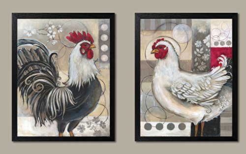 Gango Editions 2 Popular Retro Rooster and Chicken Set; Kitchen Decor; Two 11x14 Black Framed Prints. - Rooster Framed