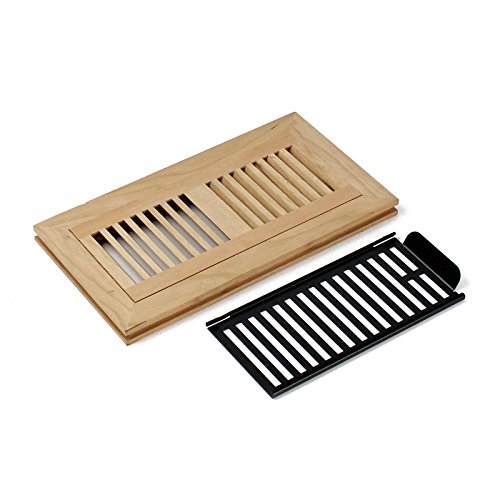 WELLAND American Cherry 4-inch by 12-inch Wood Floor Register.with Damper,Unfinished