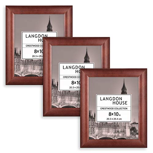 Langdons 8x10 Picture Frames, Solid Wood 8 x 10 Picture Frame, 8 by 10 Photo Frames with Wall Mount Hooks and Table Top Easel, Crestwood Collection (Cherry Stained, 3 Pack) ()