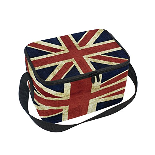 Use4 Vintage Union Jack British Flag Insulated Lunch Bag Tote Bag Cooler Lunchbox