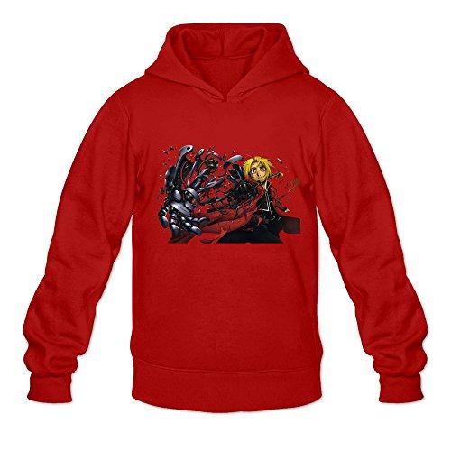 Men's Fullmetal Alchemist Brotherhood Anime Hoodies Sweatshirt Size S US Red - Red French Hard Skillet
