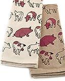 INDIA OVERSEAS Hog Wild Farm Cotton Kitchen Towels, Set of 2