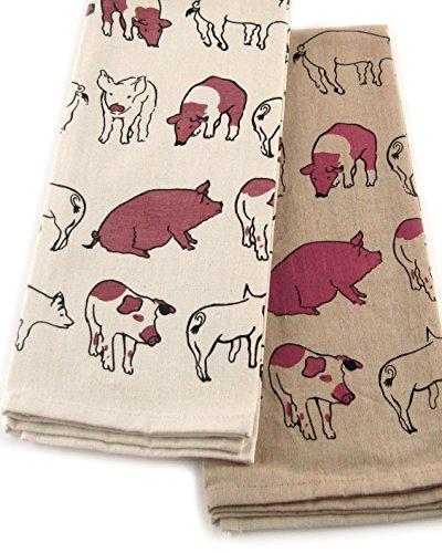 INDIA OVERSEAS Hog Wild Farm Cotton Kitchen Towels, Set of 2 by INDIA OVERSEAS