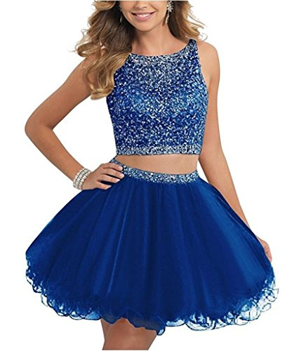 36ffc79bc421 TANGFUTI Two Piece Homecoming Dresses Beaded Short Tulle Prom Gowns  010RB-US10 - Buy Online in Oman. | Apparel Products in Oman - See Prices,  ...