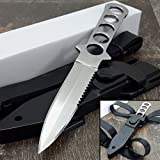 """9"""" SCUBA DIVING STAINLESS STEEL FIXED BLADE KNIFE Survival Hunting Serrated"""