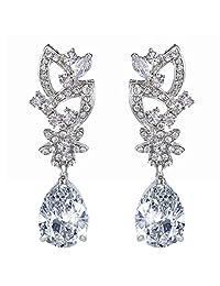 Ever Faith Bridal Silver-Tone Flower Cubic Zirconia Clear Austrian Crystal Dangle Earrings N01389-1