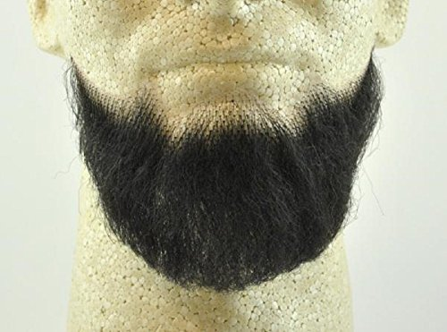 Full Chin Beard BLACK - no. 2023 - REALISTIC! 100% Human Hair - w/ Spirit Gum - Perfect for Theater and Stage ! Reusable -