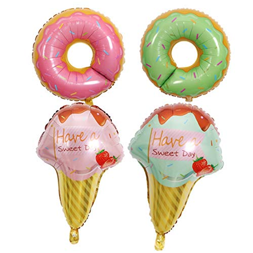 XIAMEND Party Decorations Summer Ice Cream Doughnut Party Decorated with Foil Balloons for Children's Day Themed Party,20 pcs (Color : Multi-Colored)