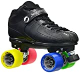 New! Jackson Vibe -RANT Black & Rainbow Quad Roller Speed Skates w/ 2 Pair of Laces (Black & Rainbow) (Mens 7)