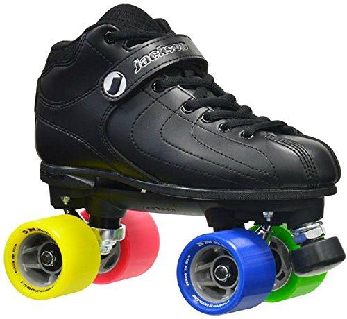 New! Jackson Vibe -RANT Black & Rainbow Quad Roller Speed Skates w/ 2 Pair of Laces (Black & Rainbow) (Mens 7)
