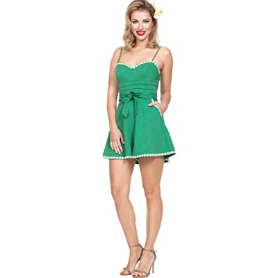 Voodoo Vixen Women's Jayne Daisy Trimmed Playsuit Green: Clothing