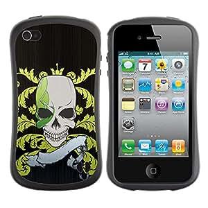LASTONE PHONE CASE / Suave Silicona Caso Carcasa de Caucho Funda para Apple Iphone 4 / 4S / Funny Pirate Skull Flag
