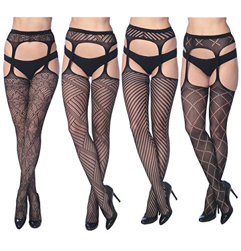 Frenchic Seamless Fishnet Lace Stocking Sexy Tights Extended Sizes (Pack of 4) (3X/4X, 4-E Suspenders)