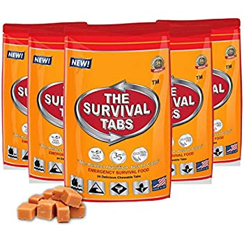 Survival Tabs - 10-Day Food Supply-Emergency Survival Food MRE for Camping Biking, Disaster Preparedness Gluten-Free Non-GMO 25 Years Shelf Life (5 pouches x 24 tablets = 120 Tablets/Butterscotch)