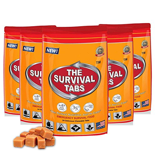 Survival Tabs – 10-Day Food Supply-Emergency Survival Food MRE for Camping Biking, Disaster Preparedness Gluten-Free Non-GMO 25 Years Shelf Life (5 pouches x 24 tablets = 120 Tablets/Butterscotch)