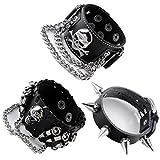leather bullet bracelet - Zysta Mens Metal Biker Black Wide Bullet Skull Spike Chain Cowhide Leather Punk Rock Bracelet Wristband Adjustable