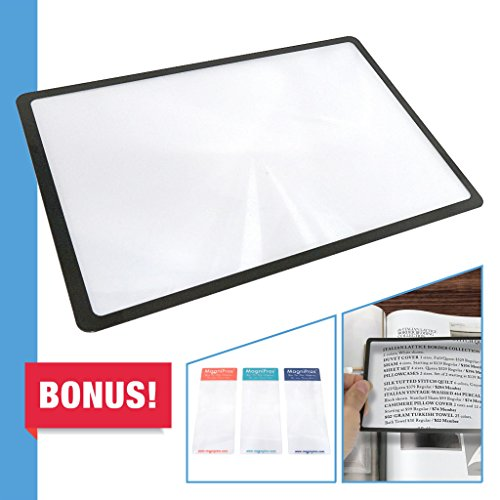 - MagniPros Premium 3X (300%) Page Magnifying Lens with 3 Bonus Bookmark Magnifiers for Reading Small Prints, Low Vision Aids & Solar Projects