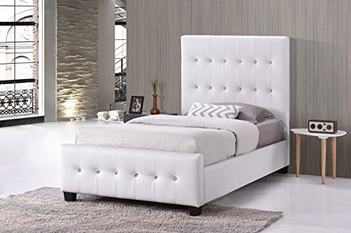 MALKO White Tufted Jewel Studded Faux Leather Upholstered Bed (Twin) (Studded Twin)