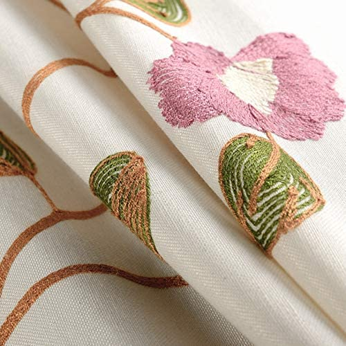 Bedroom Decorative Curtain Embroidered Floral Curtain for Sliding Glass Door Eyelet Grommet Top Window Drape 1 Panel – 114 Inch Width, 84 Inch Long