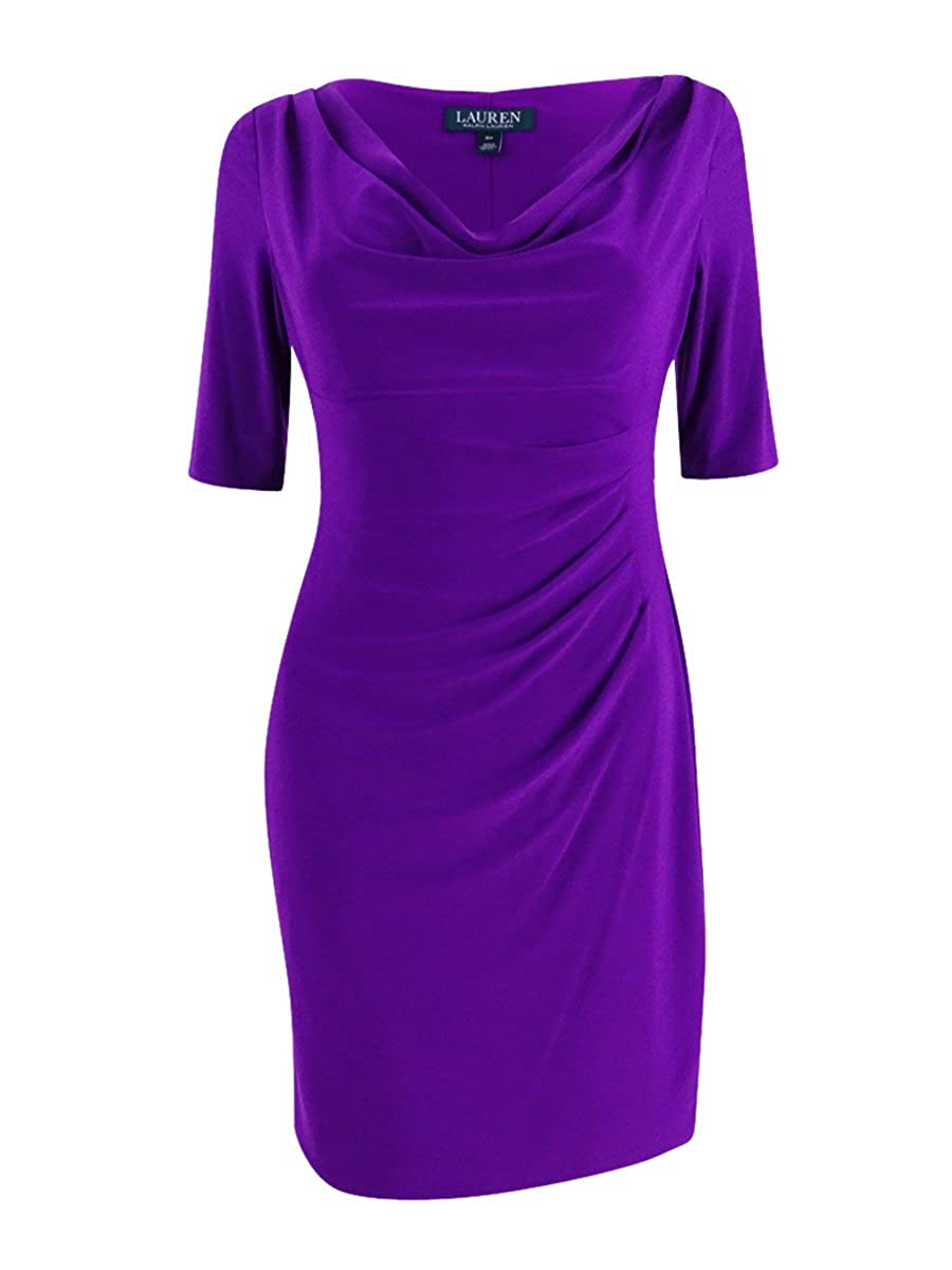 Lauren Ralph Lauren Womens Petites Cowl Neck Special Occasion Cocktail Dress