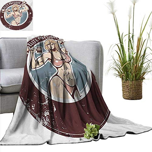 PearlRolan Flannel Fleece Blanket Fitness,Retro Style Sexy Lady with Dumbbells Elite Physique Grunge Display,Chocolate Pale Pink Blue Throw Lightweight Cozy Plush Microfiber Solid Blanket 70