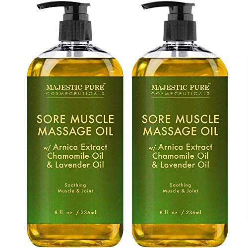 Arnica Sore Muscle Massage Oil for Joints and Muscles by Majestic Pure - Soothe Sore, Tired Muscles, Nourishing and Hydrating, 8 fl. oz.Set of 2