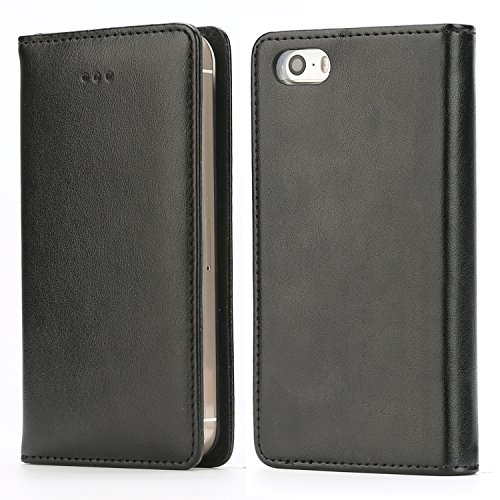 (iPhone SE Case, iPhone 5S Case, IPHOX Magnetized Closure Card Slots Money Pouch, Retro Leather Wallet Case Purse Protective Cover Stand Feature Flip Book Case for iPhone 5s/5/SE (Black))