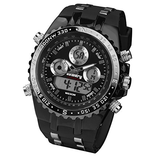 INFANTRY Men's Analog Digital Quartz Sport Wrist Watch with LCD and Black Rubber Strap - Black