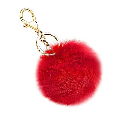 8588ebe810 Amazon.com  Soleebee Soft Artificial Rabbit Fur Keychain Plush Ball Key Ring  Cute Pom Pom Bag Charm for Women Girls (Red)  Angela Creation