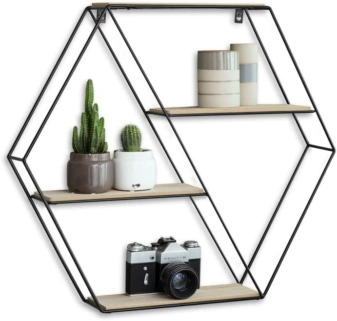 LIFA LIVING Hexagon Wall Shelf Unit, 4 Tier Floating Shelves for Kitchen Bedroom Living Room, Wooden Black Metal Mounted Shelves, Pre-Assembled, 20 x 4.3 x 22.8 inches