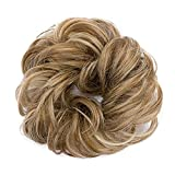 #1: Scrunchy Updo Hair Extension Wavy Hair Bun Messy Donut Chignons Synthetic Hairpiece Ombre Blonde Brown Black