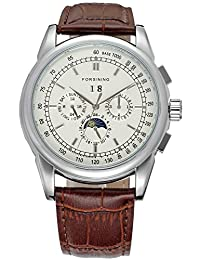 Fanmis Men's Automatic Mechanical Moon Phase Wrist Watch Brown Leather Strap White