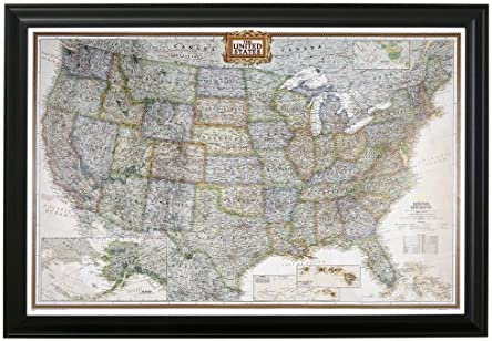 Us Map With Push Pins Amazon.com: Push Pin Travel Maps Executive US with Black Frame and