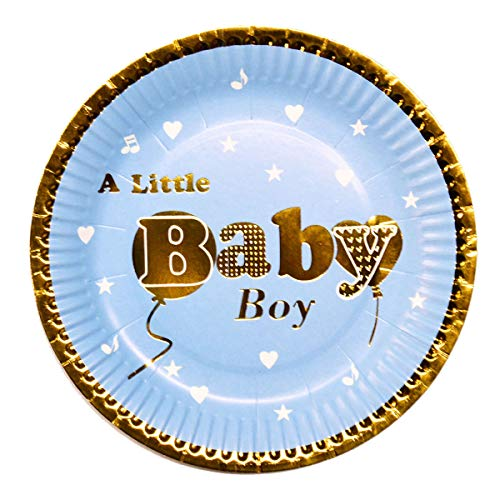 40 Lightweight Boy Baby Shower Decorative Paper Plates, Blue and Gold Boy Paper Plates