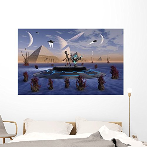 Alien Visits Site Three Wall Mural by Wallmonkeys Peel and Stick Graphic (60 in W x 38 in H) WM35403 by Wallmonkeys Wall Decals