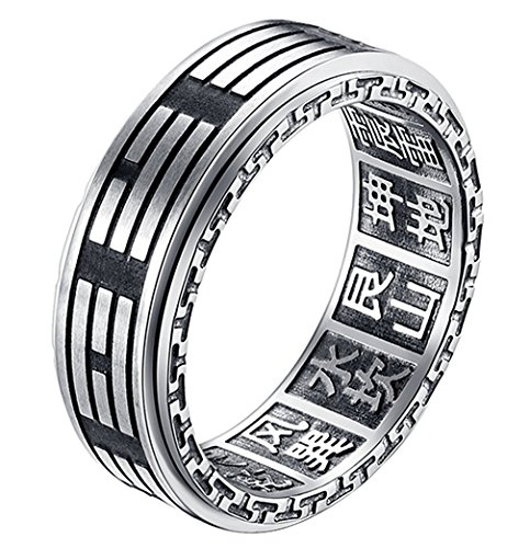 SINLEO Men's Stainless Steel Vintage Yin Yang Spinner Ring Ba Gua Eight Trigrams Signet Band 8mm Size 10]()