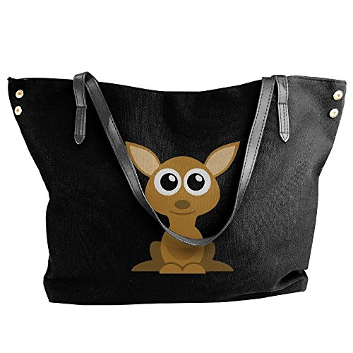 Handbag Large Animal Black Canvas Kangaroo Large Women's Cute Shoulder Tote Capacity Bags wI6HqT4