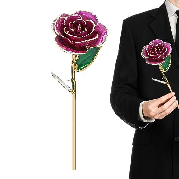 Rosa de oro de 24 quilates, regalo de flores de tallo largo para ella, hecho de rosa fresca, último día de la madre/acción de gracias/Navidad/San ...