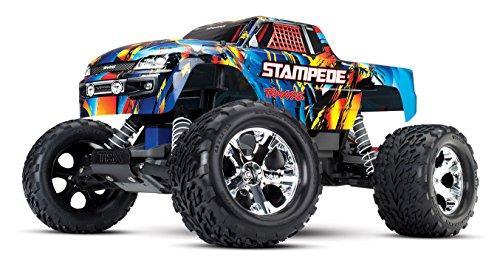 Stampede Monster Truck - Traxxas Stampede 1/10 Scale 2WD Monster Truck with TQ 2.4GHz Radio, Rock N' Roll