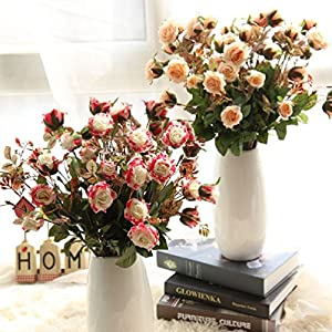3Pcs Artificial Flowers Bouquet Touch Real Latex Rose Silk Bridal Bridesmaid 102