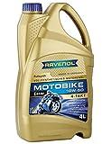 Ravenol J1V1011-004 SAE 10W-50 4-Stroke Motorcycle Oil - 4-T Full Synthetic Ester JASO MA/MA2 (4 Liter)