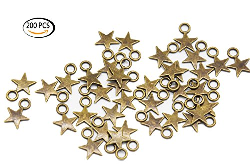 Youkwer 200Pcs 9mm x12mm Antique Alloy Stars Christmas Charms Pendants for DIY Crafting and Jewelry Making(Antique Bronze)